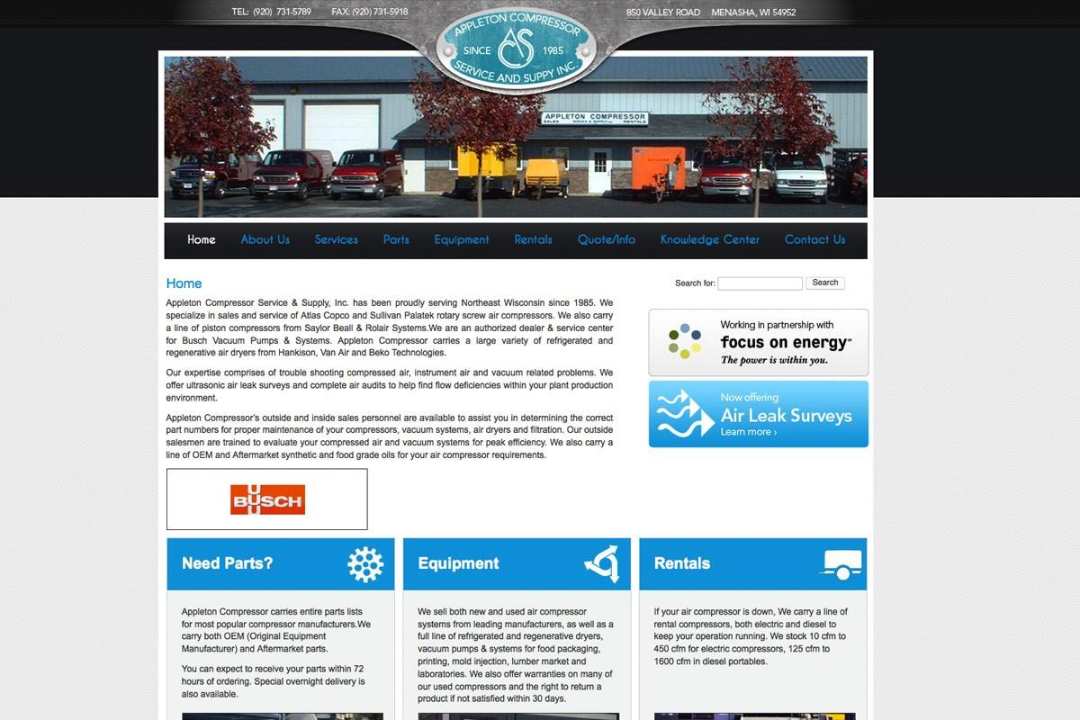 Appleton Compressor Service & Supply, Inc.,appleton website designers,wisconsin website designers,green bay web design,green bay graphic design