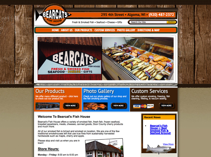 Bearcats Fish House, Algoma,Wisconsin,website designers in Wisconsin, Food industry web design, construction,home builders website design,seo,social media experts,WI web design, American website designers