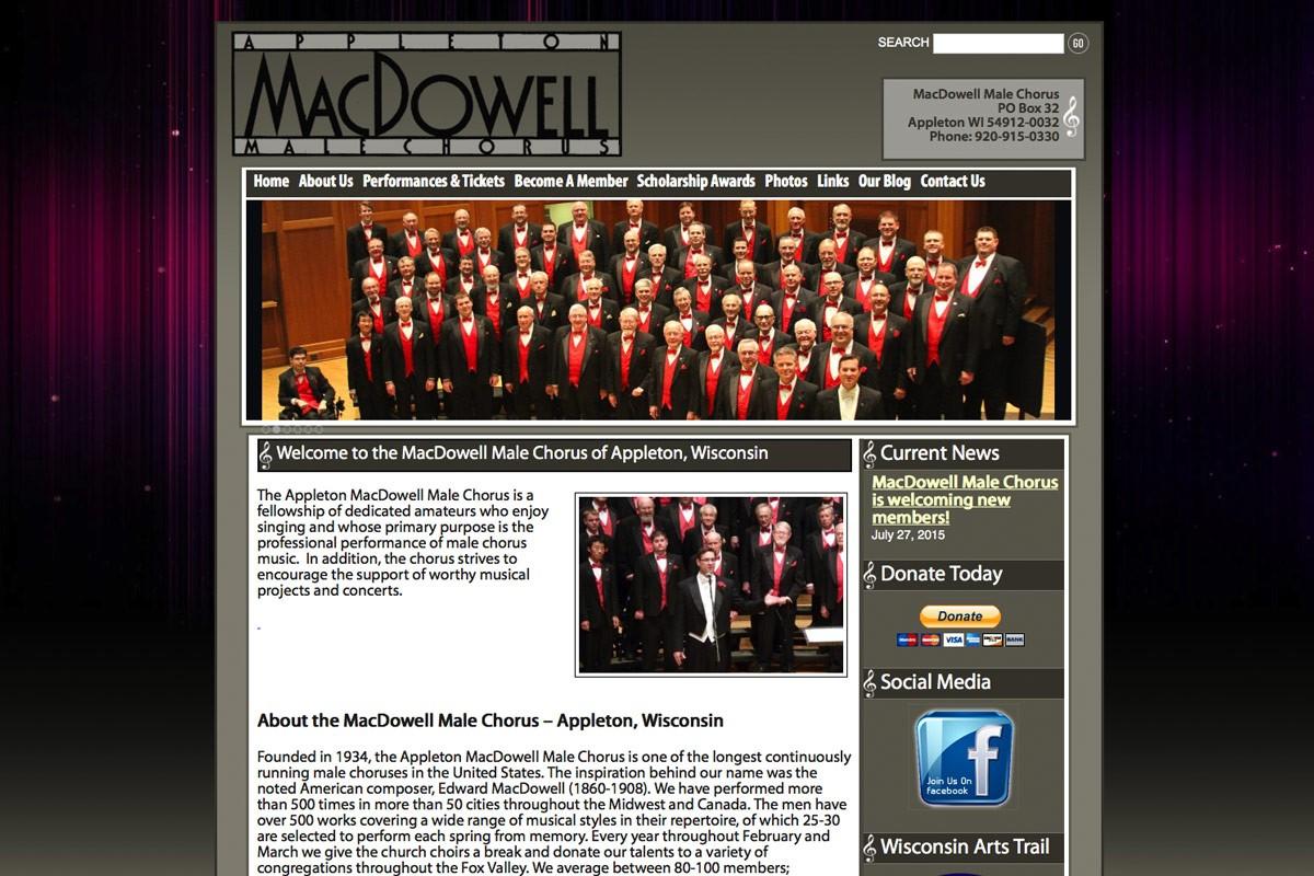 MacDowell Male Chorus,Appleton,Wisconsin,website designers in Appleton, WI