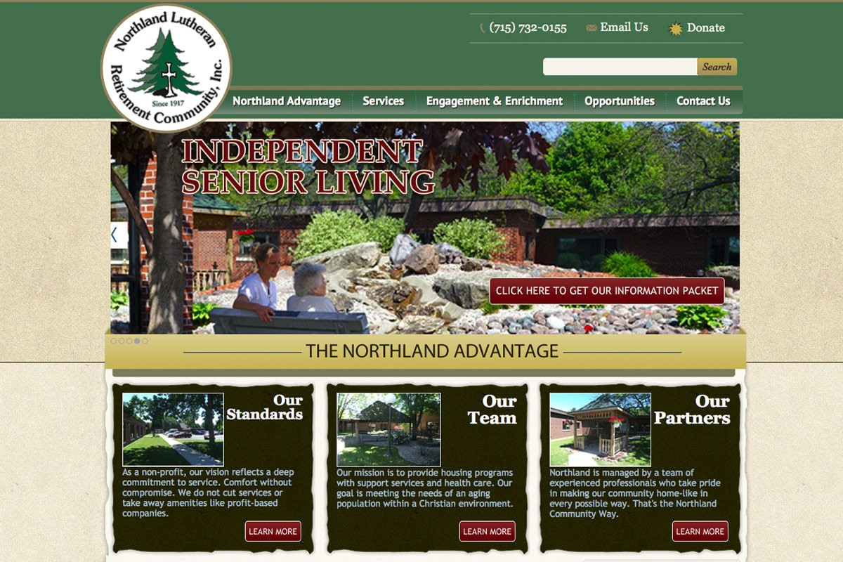 Northland Lutheran Retirement Community, Inc., Michigan website designers,mi web design,UP of Michigan,website designers,graphic design