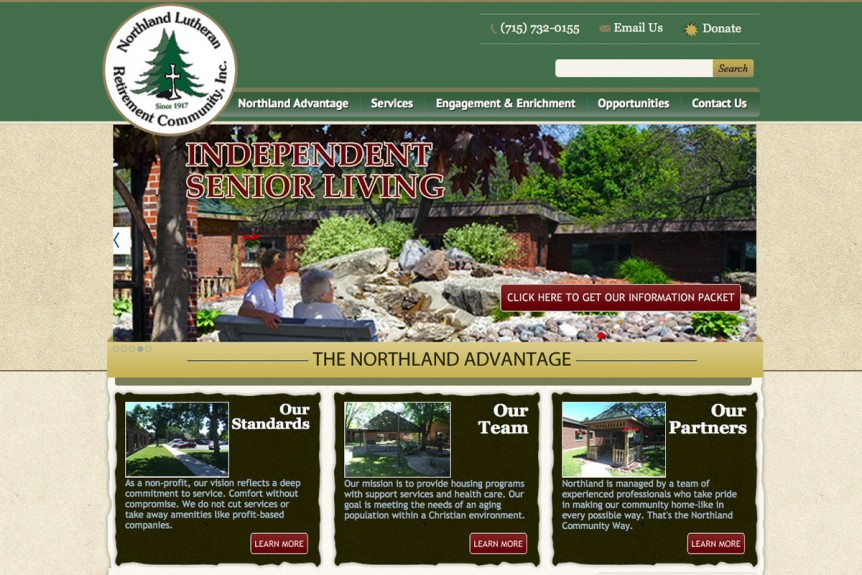 Northland Lutheran Retirement Community, Inc., Michigan website designers,mi web design,UP of Michigan,website designers,graphic design