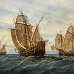 Columbus ships sailing to America,Explorer and navigator Christopher Columbus