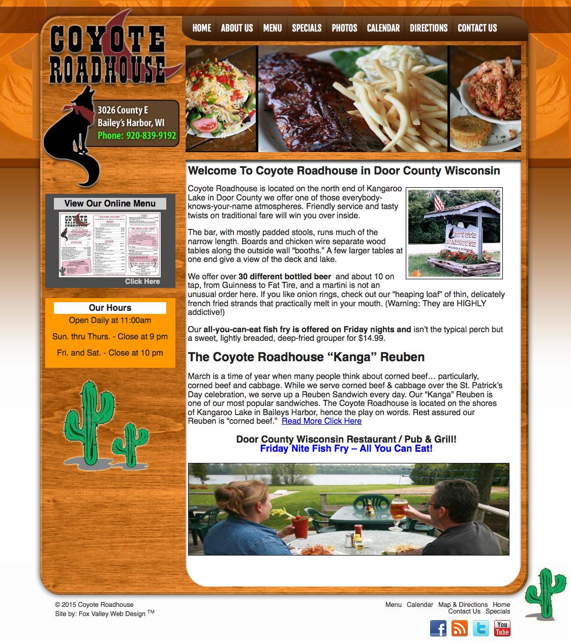 Door County Wisconsin website designers,Coyote Roadhouse, Kangaroo Lake in Door County,things to do in Door County,place to eat in Door County,door county web developers