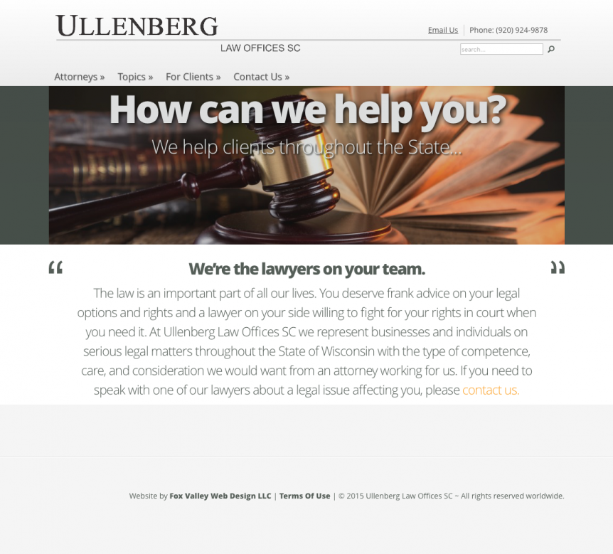 Ullenberg Law ~ Wisconsin Attorneys ~ Wisconsin Lawyers ~ Lawyer websites,law firm websites,Wisconsin website designers