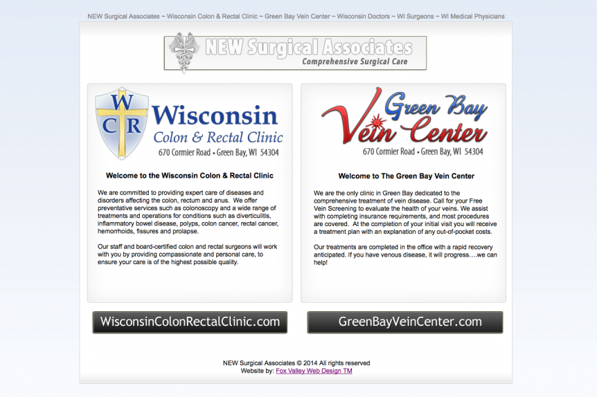 NEW Surgical Associates, Wisconsin Colon & Rectal Clinic, Green Bay Vein Center, Wisconsin Doctors, WI Surgeons,WI Medical Physicians,wisconsin website designers,logo designers,WI web design,american website designers