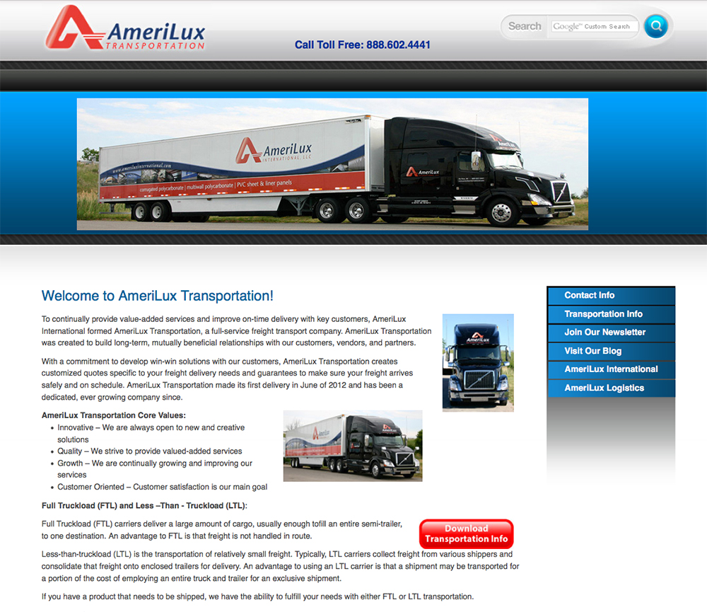 AmeriLux Transportation,De Pere, WI,Green Bay Trucking Firms,Trucking companies in Green Bay,Full Truckload (FTL) and Less –Than - Truckload (LTL) Trucking services for the following States in the USA: Colorado, Georgia, Illinois, Indiana, Iowa, Kansas, Kentucky, Maryland, Michigan, Minnesota, Missouri, Nebraska, New Jersey, North Dakota, Ohio, Pennsylvania, South Dakota, Tennessee, Virginia, West Virginia, Wisconsin