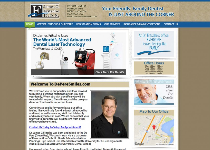 Green Bay dentists,De Pere Dentist,Wisconsin dentist,Dr. James Fritsche,depere,wi