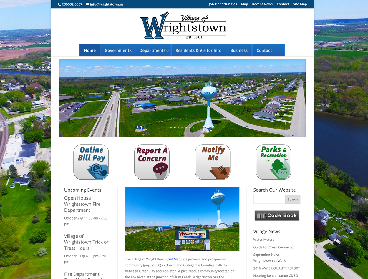 Village of Wrightstown, Wisconsin,WI SEO, Fox River,Fox Valley jobs,village websites,government web developers ~ fox valley web design llc