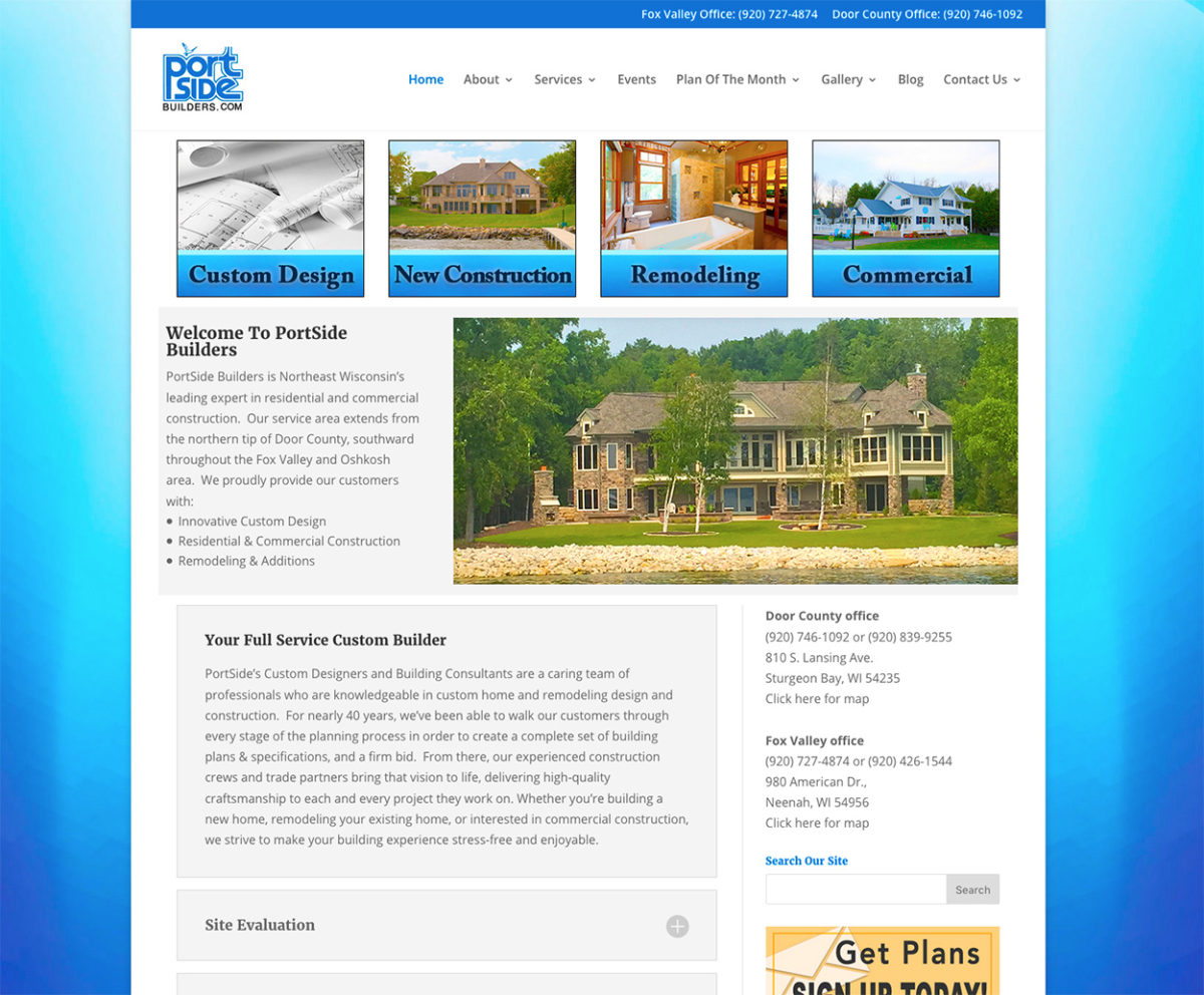 commercial builders, portside builders inc, sturgeon bay home builders, fox cities, fox valley home builders, neenah home builders, commercial construction, wisconsin, home design, fox valley commercial builders, engineering, door county commercial builders, remodel, additions, construction, building,door county home builders,home renovation, basement remodeling,custom home design, site evaluations, new home floor plans,