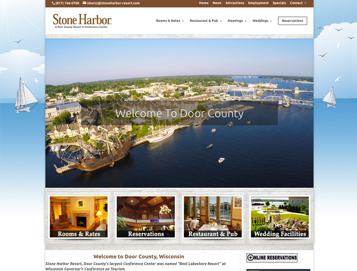 Stone Harbor Resort & Conference Center, Sturgeon Bay Wisconsin, Door County Website Designers,Wisconsin Made Websites,Wisconsin website developers, Wisconsin WordPress Developers,Sturgeon Bay web design,Egg Harbor,Fish Creek,Washington Island, WI, web developers in Door County