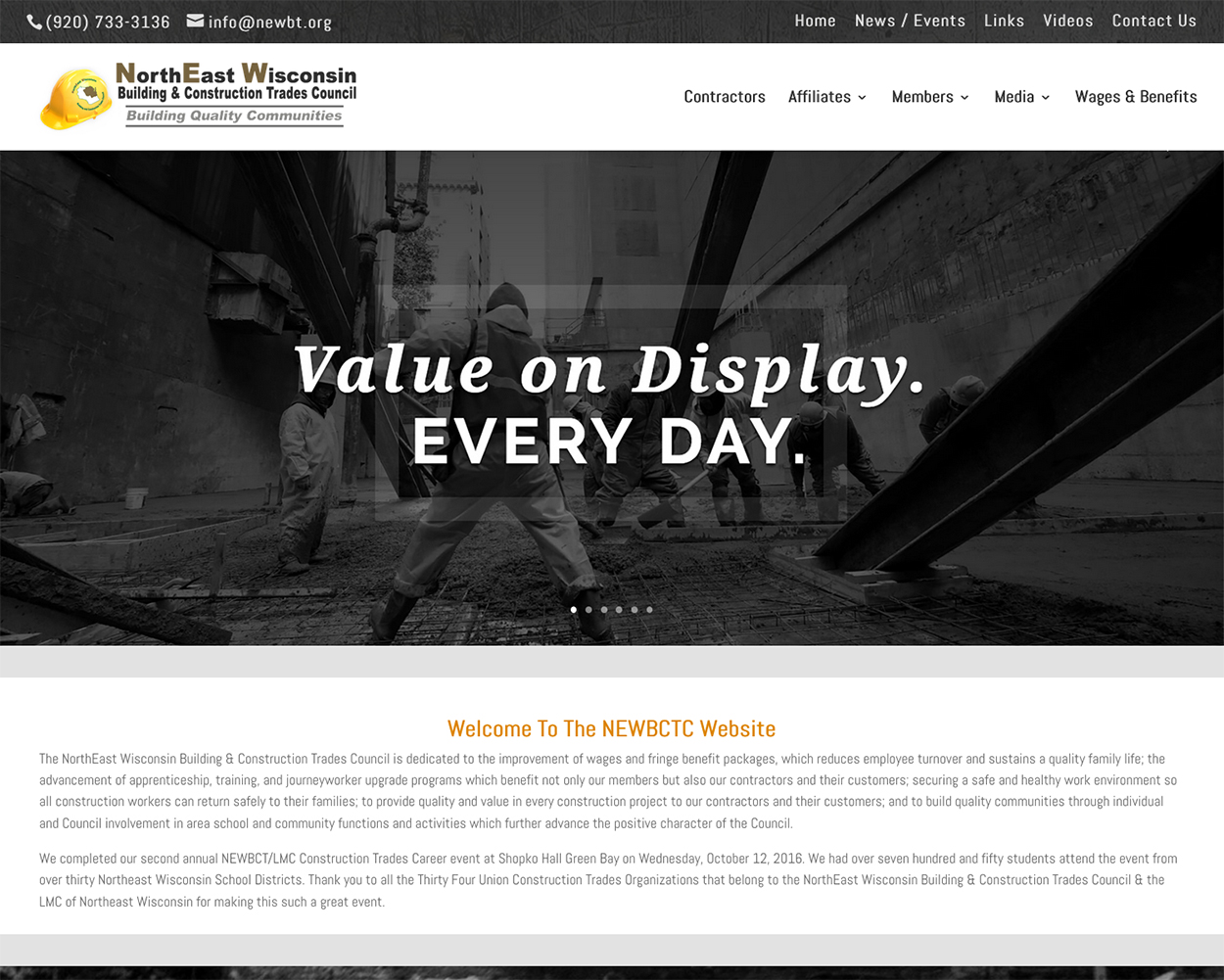 home web design. The NorthEast Wisconsin Building  Construction Trades Council NEWBCTC website designers in Fox Valley Web Design LLC American Website Designers