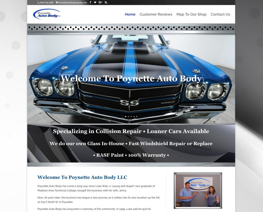 Poynette Auto Body, Wisconsin,Auto Body Shops,WI Collision Repair,Auto repair,loaner cars,professional auto body shops in wisconsin,Website Design
