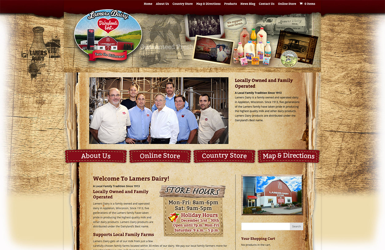 Wisconsin website designers, Lamers Dairy Inc • Dairyland's Best, Appleton, Wisconsin, Fox Valley