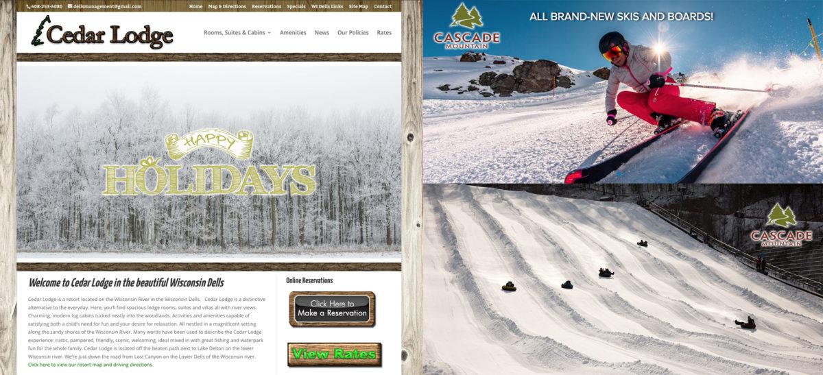 Cedar Lodge, Wisconsin Dells,Cascade Mountain,Wisconsin Ski Hills,Wisconsin Tubing Hills,Wisconsin Dells Lodging Specials