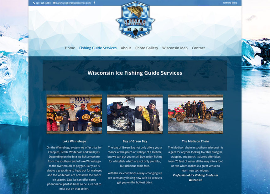 Iceberg Guide Services, Sheboyan, Wisconsin,website design,fvwd,fox valley web design,sheboygan web design,outdoor adventure website design,fishing website,ice fishing,ice hole,graphic designers wisconsin