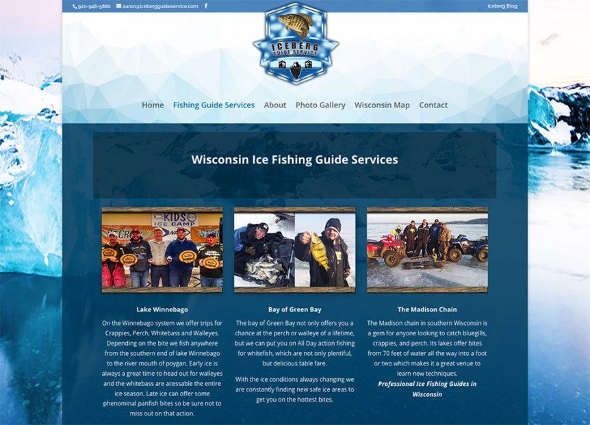 Iceberg Guide Services, Sheboyan, Wisconsin,website design,fvwd,fox valley web design,sheboygan web design,outdoor adventure website design,fishing website,ice fishing,ice hole,graphic designers wisconsin