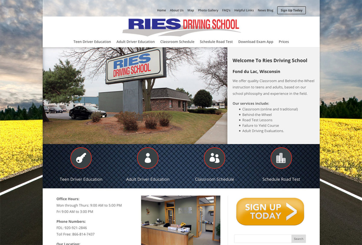 Ries Driving School, Fond du Lac, Wisconsin, Fond du Lac web designers,Fond du Lac wi web development,driving school web design,education website design,fox valley web design,american website designers