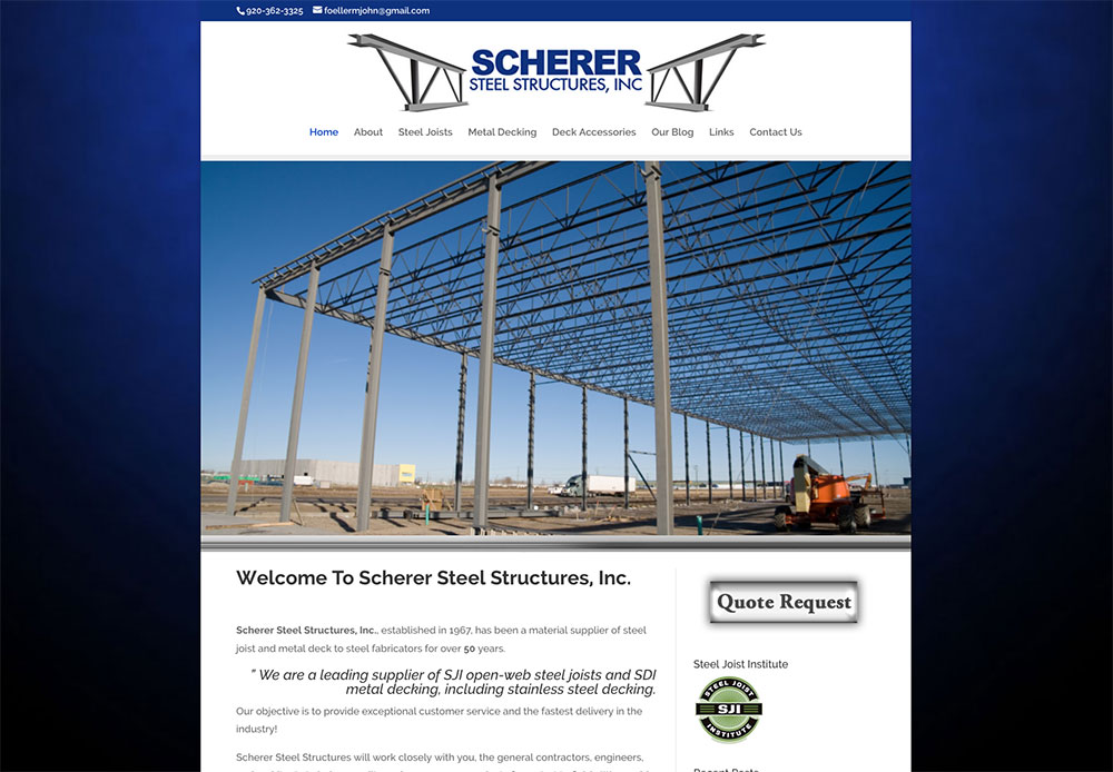 scherer steel structures, industrial metal supply, industrial steel suppliers, Steel Joists, Open-web steel joists, bar joists, short span joists, sji joist, joist girder, steel girders, Scherer Steel Structures Inc, wisconsin steel suppliers