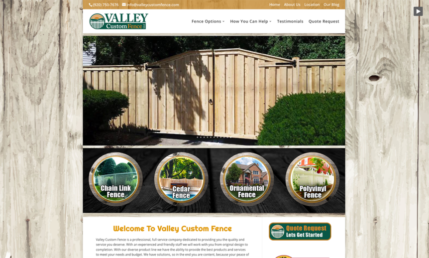 Chain Link Fences,Sport Court Fencing,Cedar Fences,Wood Fencing,Ornamental Steel Fences,Aluminum Fences,Polyvinyl Fences,Vinyl fences, valley custom fence,custom website design,wisconsin website designers,appleton website developers,appleton seo,wi seo company,web designers near me,northeastern wisconsin web developers