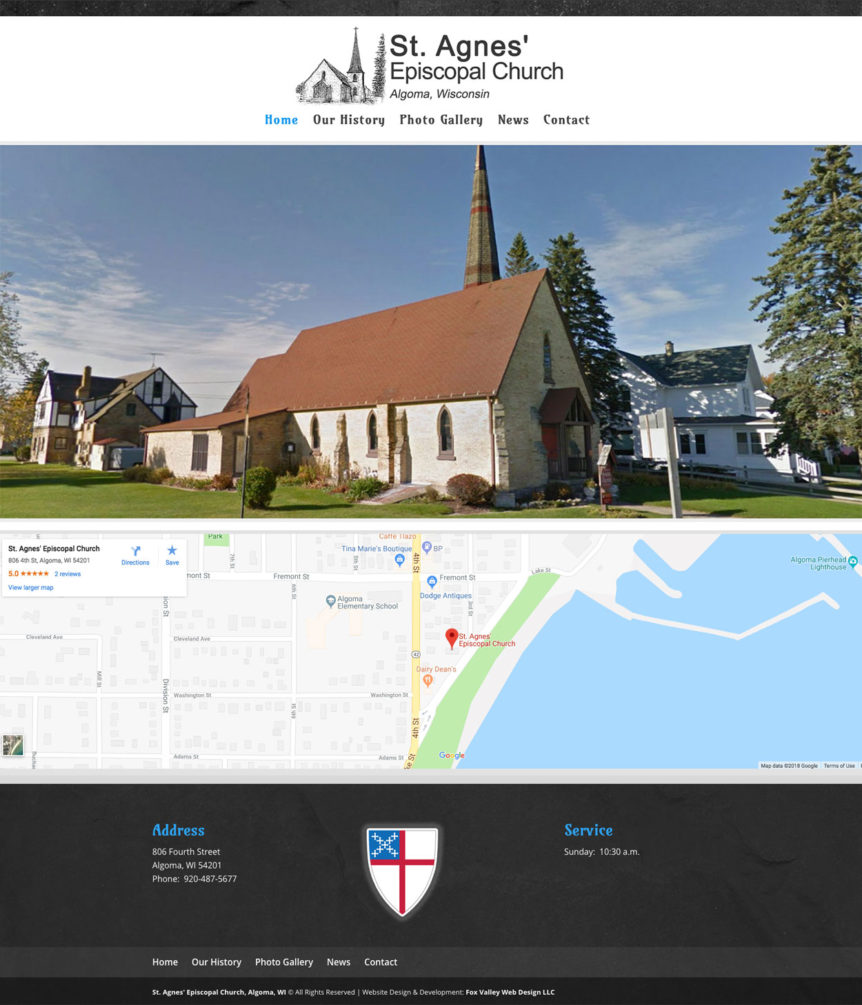 Christian Website Developers, Christian website design,church web developers,wisconsin website design,St. Agnes Episcopal Church, Algoma, Wisconsin, Jesus is Lord, Rev. Rob Hoppe,Christian Church, Grace Church,United States, 806 Fourth Street, Algoma, WI 54201, 920-487-5677,Bible Verse of the Day