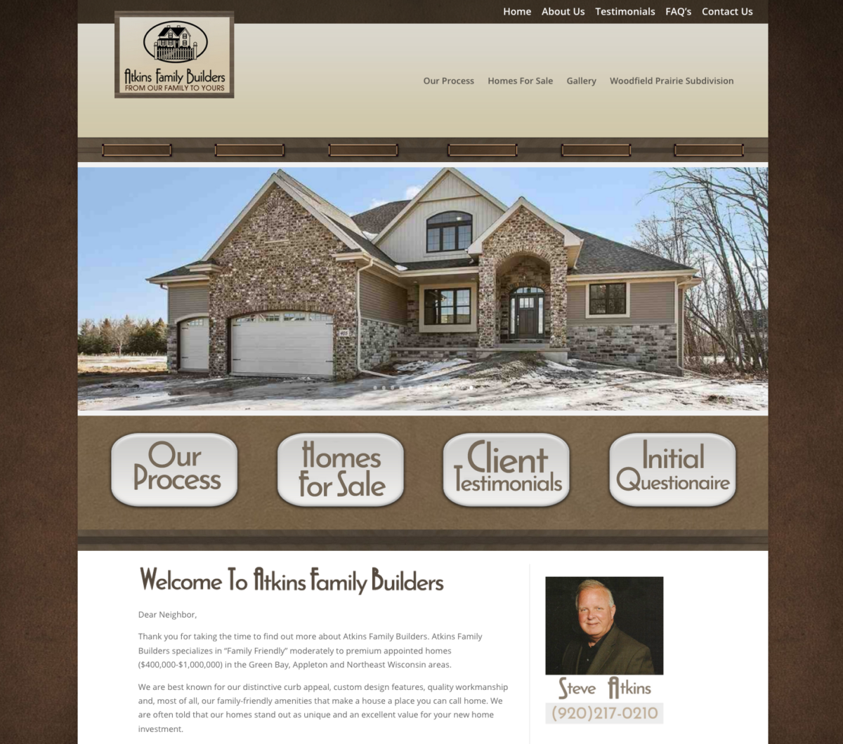 Atkins Family Builders Wisconsin Home Green Bay Fox Valley Wi