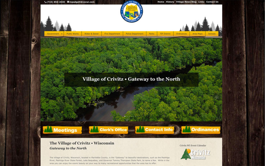 village of crivitz,marinette county, website designers,fox valley web design,fvwd,peshtigo river,drone operators,government website developers,government website designers,village website design,village website development,wisconsin website developers,green bay website design,packerland website design,northwoods web designers