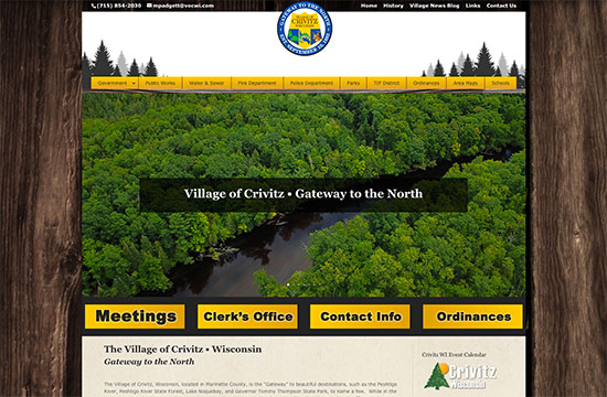 village of crivitz,wisconsin,northwoods,government website developers,