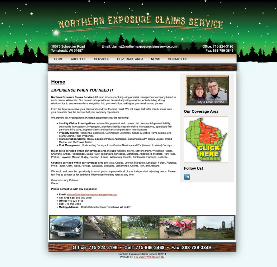 northern exposure claims service llc,tomahawk wi,wisconsin website designers,wi web design,wi graphic design,insurance website design,insurance company website designers,best website developers in wisconsin,wisconsins best web designer