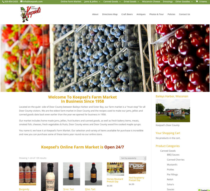 Koepsel's Farm Market,Baileys Harbor, Wisconsin, Door County Jams & Jellies, Canned Goods, Craft Beers, WI Cheese, Dressings & Other Goodies, Ecommerce Website Engineering,American website design,green bay web design, packerland website design,titletown website design, door county website design,Fox Valley Web Design LLC