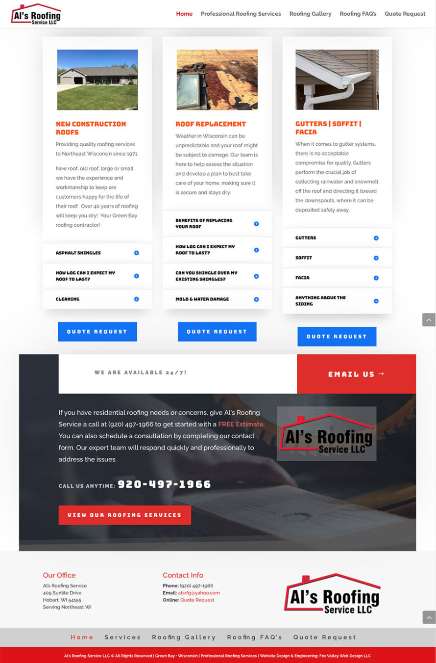 als roofing service, green bay, wisconsin