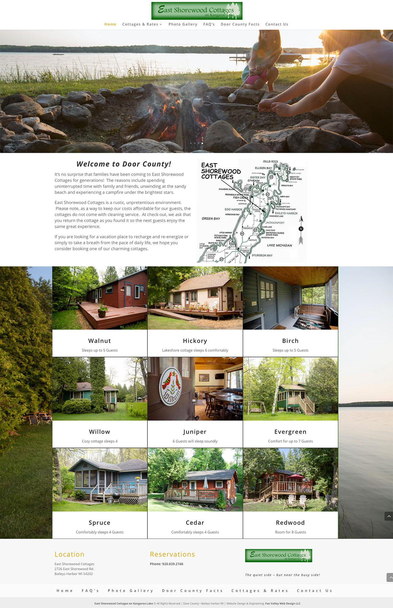 Eastshorewood Cottages,kangaroo lake, door county,web design,photography,wisconsin web design,door county website design