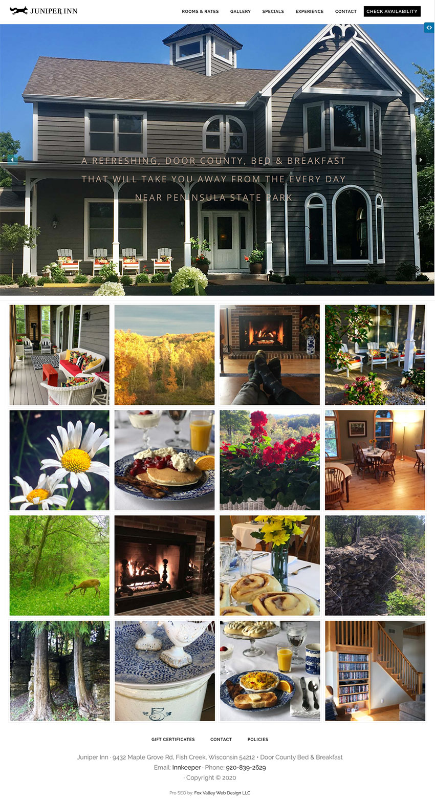 juniper inn, fish creek,wisconsin,door county bed & breakfast,fish creek bed and breakfast,bed & breakfast web design,lodging website designers,web developers near me,wisconsin web developers, seo,fox valley web design,door county web design