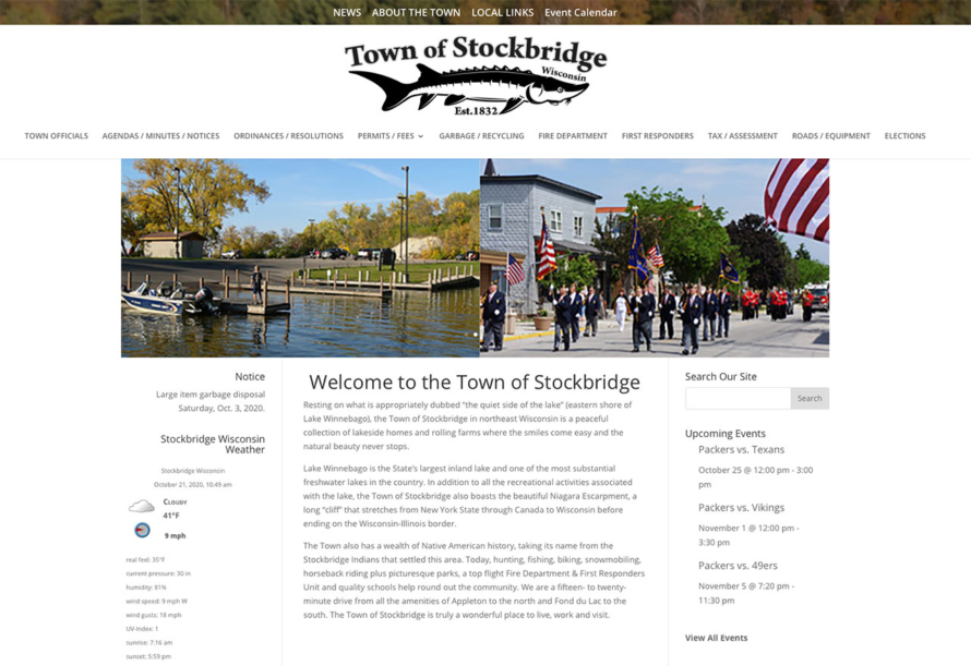 town of stockbridge wisconsin,stockbridge wi,fvwd,fox valley web design,wisconsin website designers,american web design, government website developers