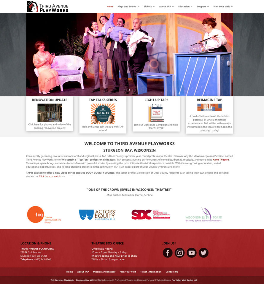 third avenue playworks, third avenue playhouse, professional theatre, door county wi, website designers, things to do in door county, live entertainment, professional actors, professional actresses, northeastern wisconsin website developers